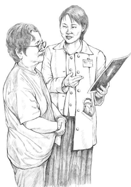Drawing of a doctor counseling a patient.