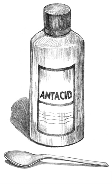 Drawing of a bottle of liquid antacids.