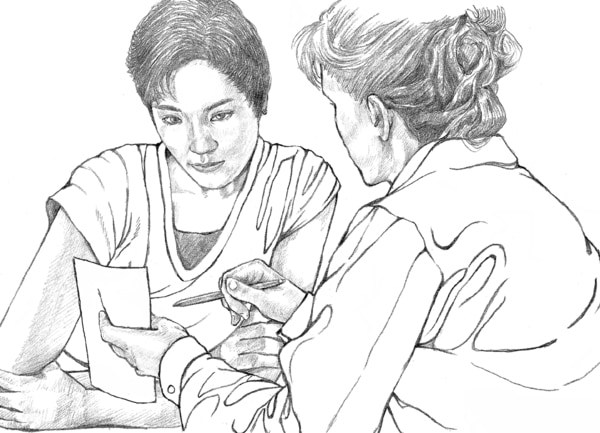 Drawing of a doctor consulting a patient.