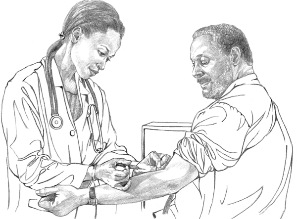 Drawing of a patient having his blood tested.