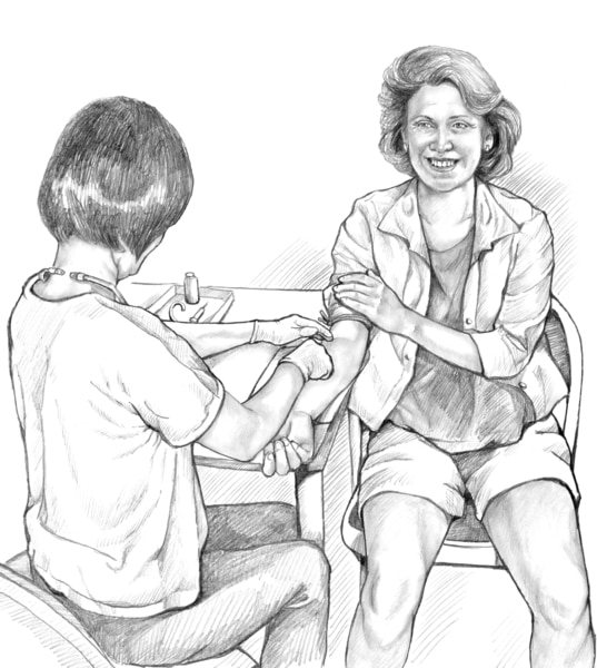 Drawing of a patient having her blood drawn.