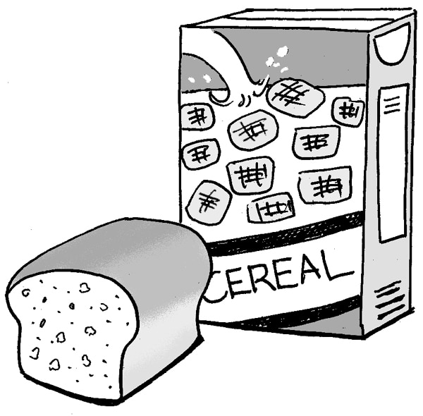Drawing of bread and cereal.