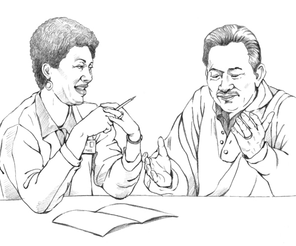 Drawing of a male patient and a female doctor sitting at a table and talking.