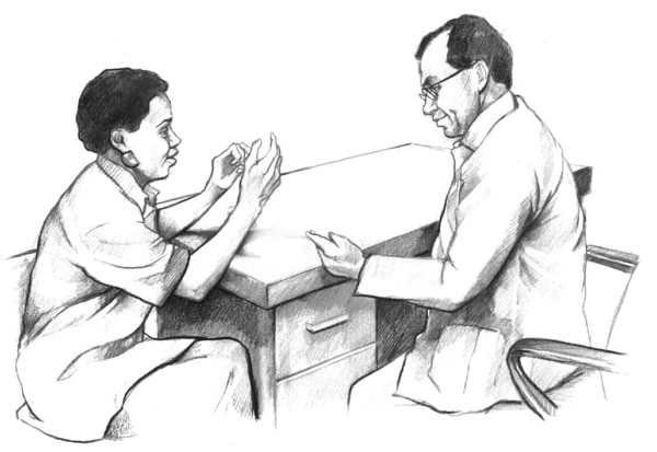Drawing of a male doctor talking with a female patient. Both are seated at a desk.