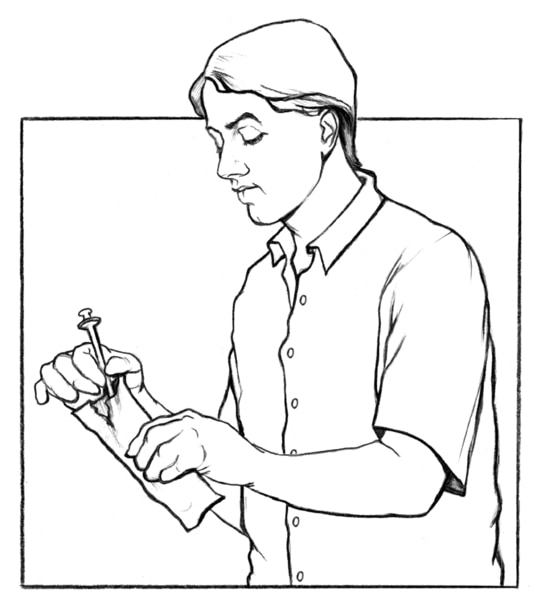 Drawing of a male disposing of a needle.