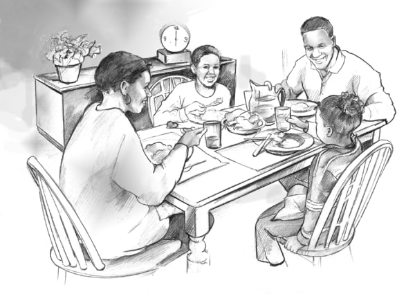 Drawing of an African American mother, father, son, and daughter at the dinner table.