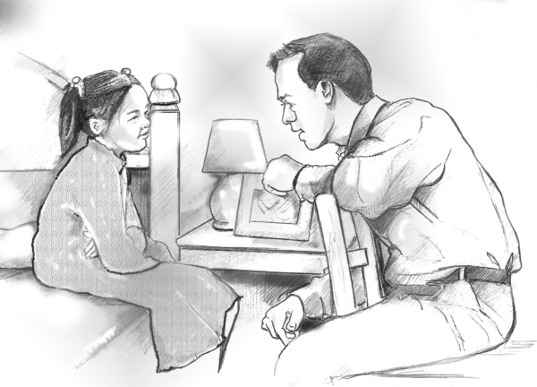 Drawing of a father talking with his daughter in her bedroom.