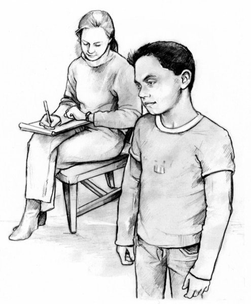 Drawing of a Caucasian boy waiting while his mother writes something down.