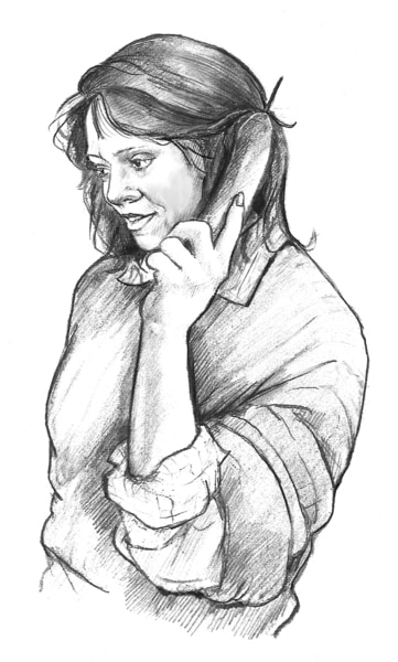 Drawing of a Caucasian woman on the phone.
