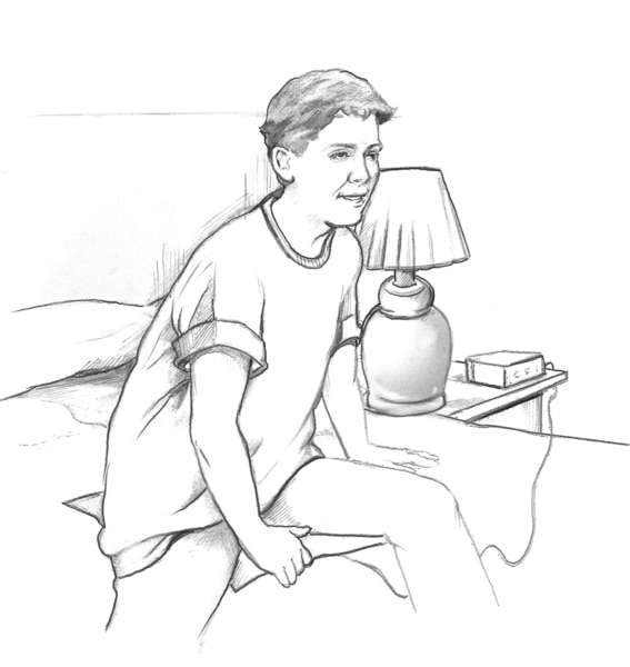 Drawing of a Caucasian boy awakened by a moisture alarm and getting out of bed.