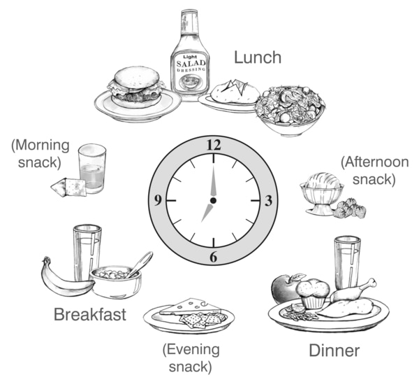 Drawing of foods for breakfast, lunch, dinner, a morning snack, an afternoon snack, and an evening snack, arranged in a circle around a clock. Breakfast, morning snack, lunch, afternoon snack, dinner, and evening snack are labeled.