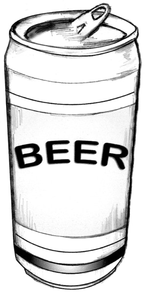 Drawing of a can of beer.