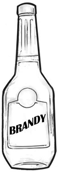 Drawing of a bottle of brandy.