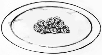Drawing of one serving of chopped carrots.