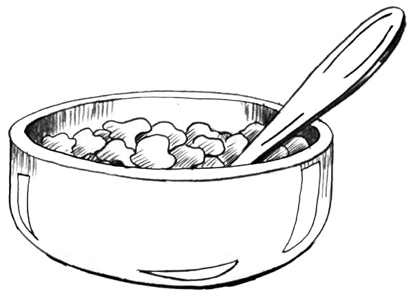 Drawing of a bowl of cereal with a spoon in the bowl.