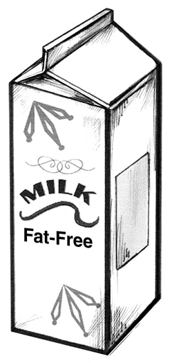 Drawing of a carton of fat-free milk.