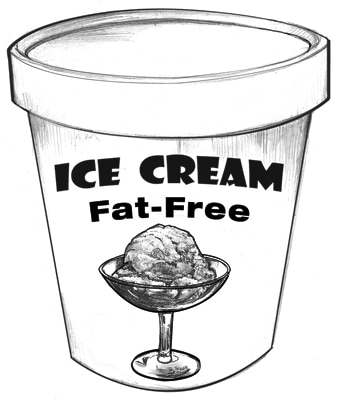 Drawing of a carton of fat-free ice cream.