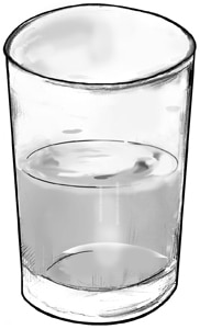 Drawing of a half glass of water.