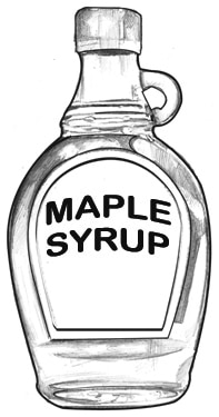 Drawing of a bottle of maple syrup.