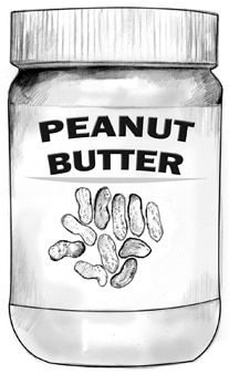 Drawing of a jar of peanut butter.