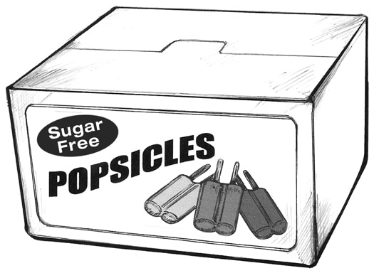 Drawing of a box of popsicles.