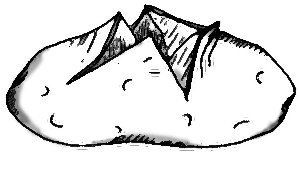 Drawing of a baked potato. The potato has been cut open