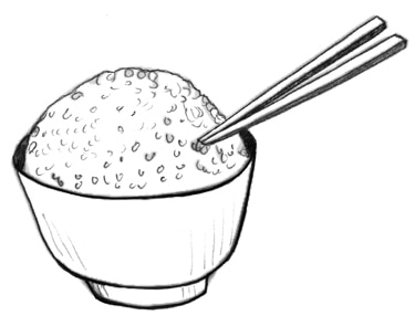Drawing of a bowl of rice.