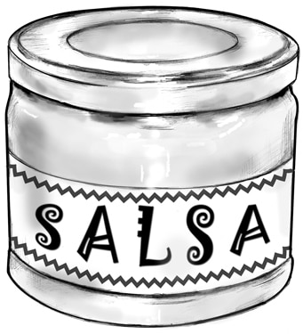 Drawing of a jar of salsa.