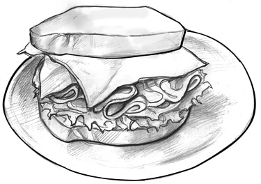 A drawing of an example of a 2-ounce serving of meat and meat substitutes: a sandwich on a plate labeled as one slice, or 1 ounce, of turkey plus one slice, or 1 ounce, of low-fat cheese.