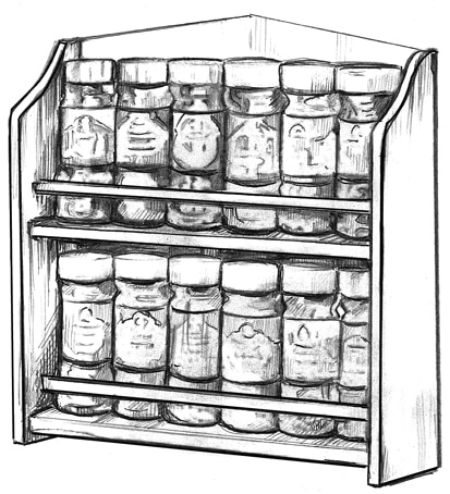 Drawing of a spice rack filled with jars of spices.
