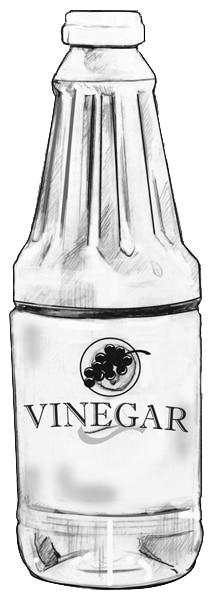 Drawing of a bottle of vinegar.