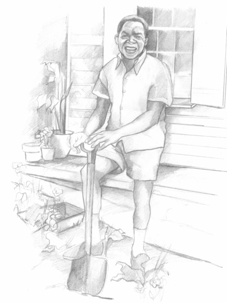 Drawing of a man shoveling.