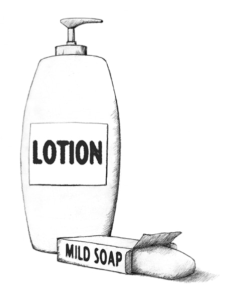 Drawing a bottle of lotion and a soap bar.