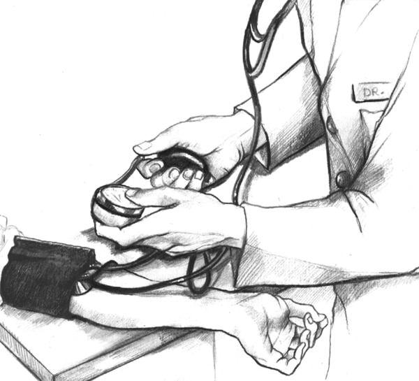 Drawing of a doctor taking blood pressure.