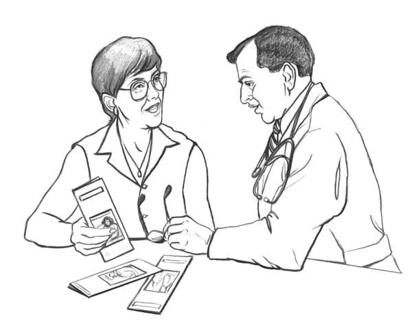 Drawing of a doctor talking with a patient.