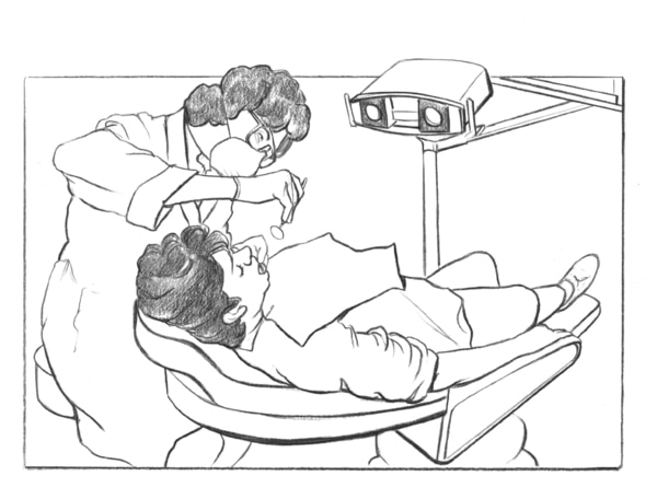 Drawing of a patient being examined by a dentist.