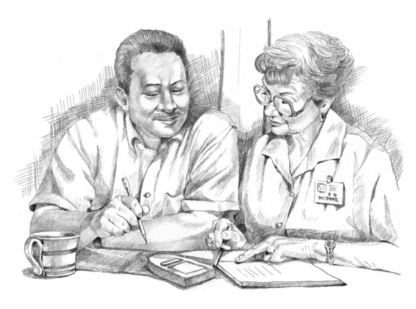Drawing of a patient talking with a doctor.