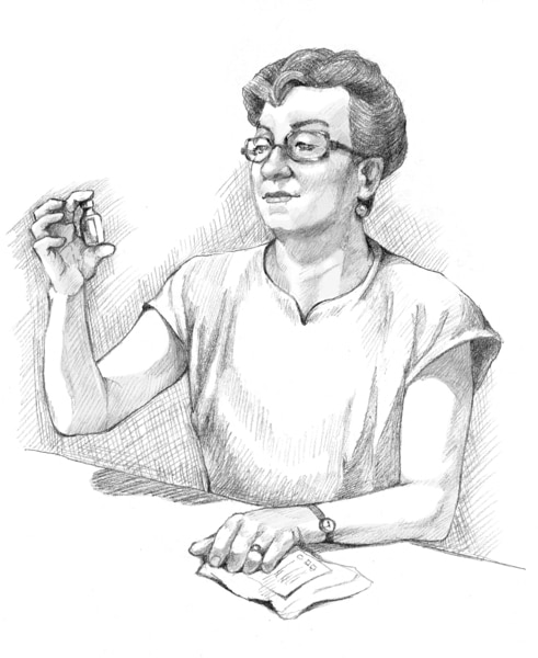 Drawing of a patient looking at an insulin bottle.