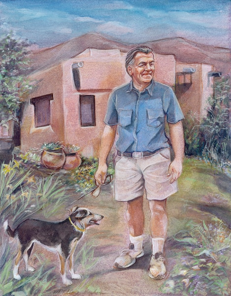 Drawing of a man walking his dog outside of an adobe building.