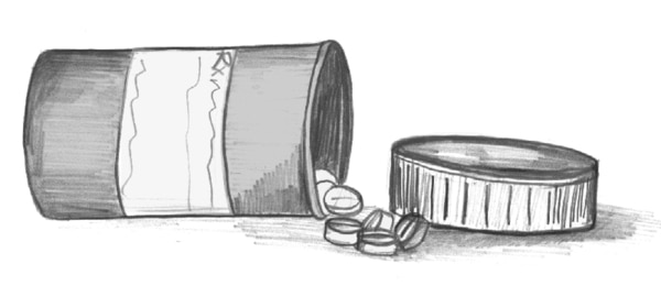 Drawing of an opened bottle of pills.