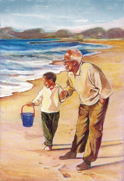 Drawing of an elderly man with a child on a beach. The man holds the child's hand. The child holds a small bucket.