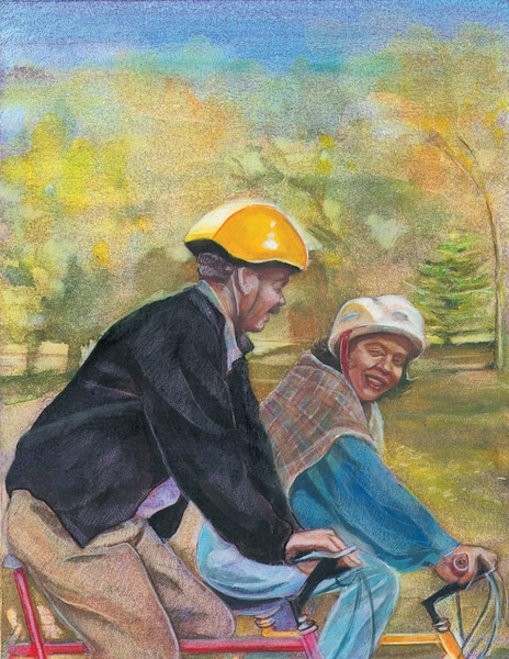 Drawing of a man and a woman wearing helmets and riding bicycles. The man and woman are smiling at each other as they ride.
