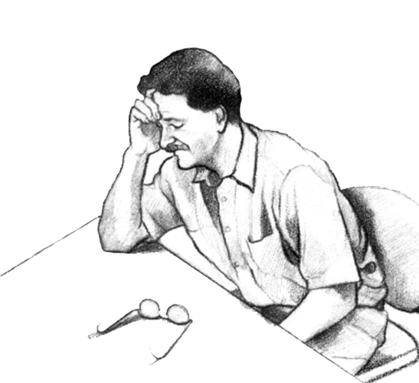 Drawing of a man seated at a table with his head resting on his right hand. His right elbow is on the table. His eyeglasses are on the table. His eyes are closed and he looks ill.