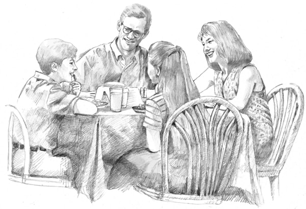 Drawing of a family talking at the dinner table.