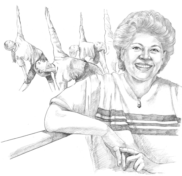 Drawing of a woman with people exercising in the background.