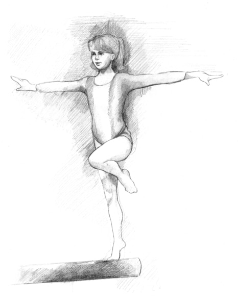 Drawing of a girl on a balance beam.
