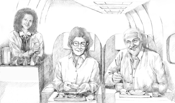 Drawing of a man and a woman aboard a plane.