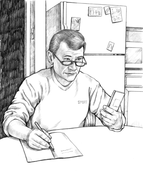 Drawing of a man sitting at a table recording his blood glucose level.