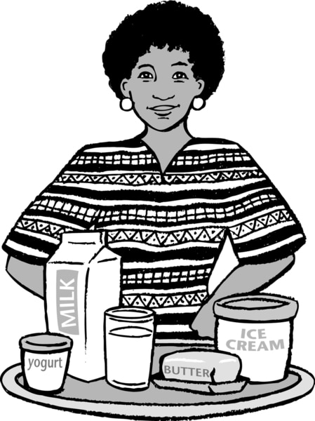 Drawing of a woman standing with dairy products in front of her, such as yogurt, milk, butter, and ice cream.