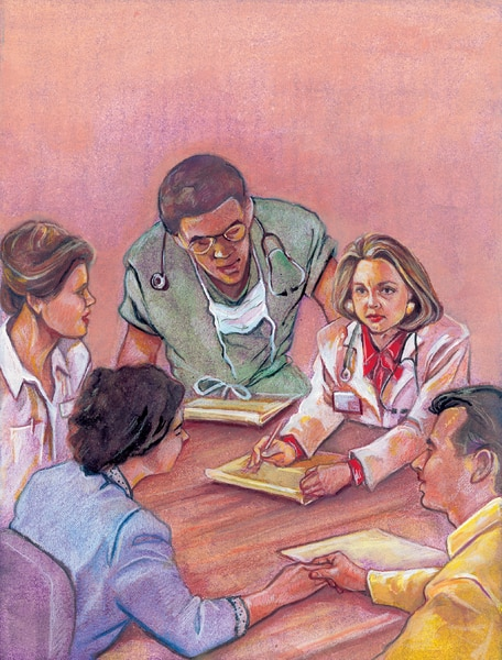 Drawing of five people meeting around a table. A male doctor wearing scrubs leans over to view a female doctor's notepad, while another female healthcare provider looks on. Across the table sit a female patient and a male family member holding the patient